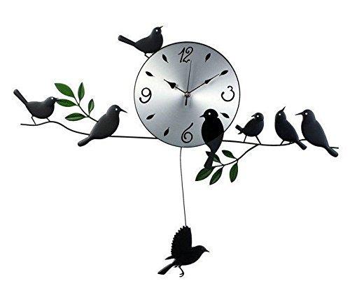 鳥の振り子時計 ウォールクロック 壁掛け時計 インテリア...