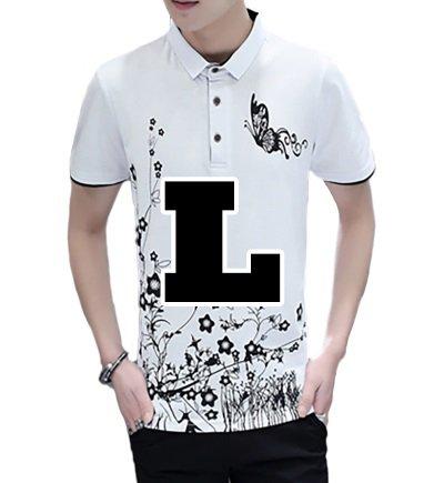 ( Make 2 Be ) メンズ ポロシャツ 蝶柄 半袖 カジュアル シャツ ゴルフ ウェア 和柄 バタフライ MF45 (11.White_L)