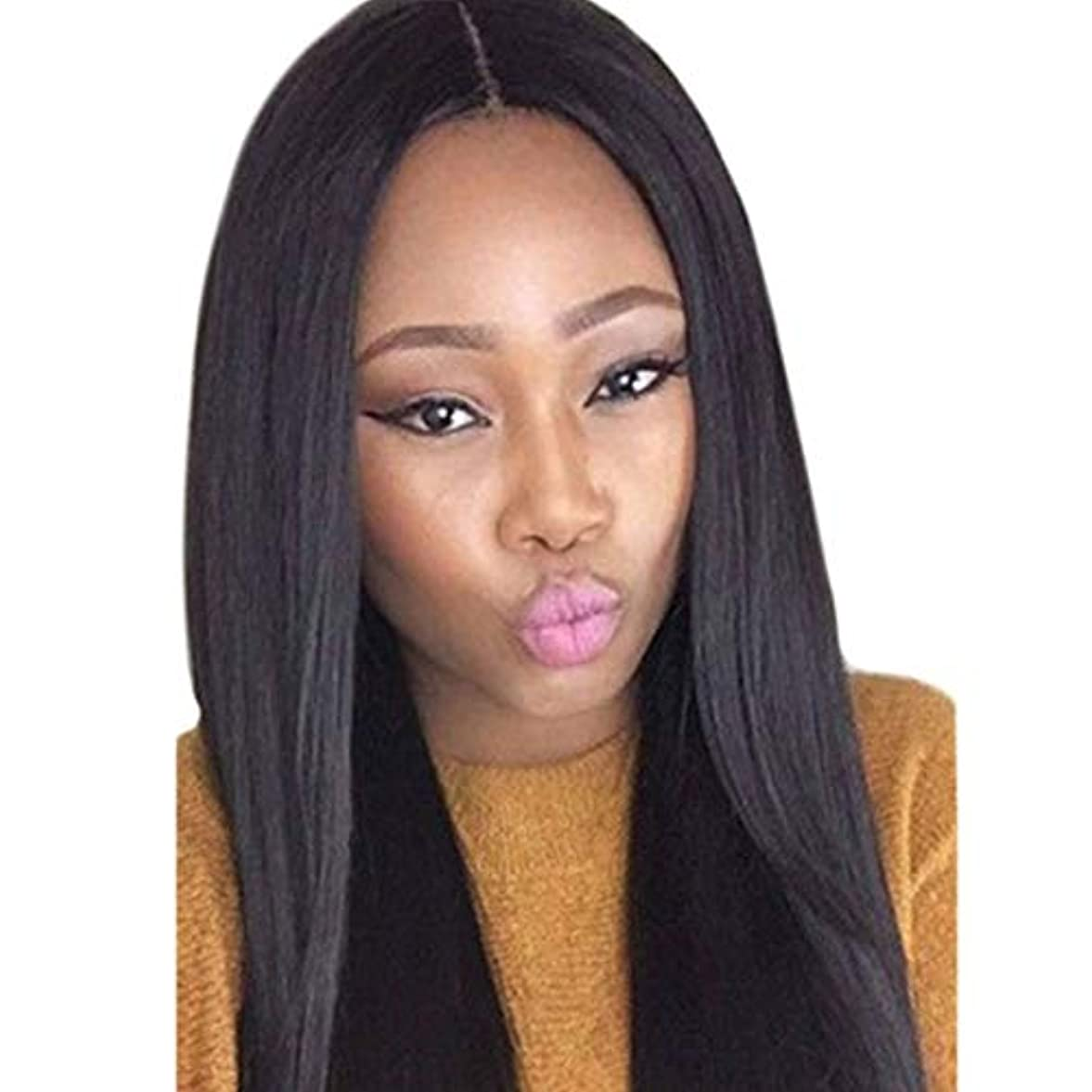 硬さ建てる出くわすKerwinner 女性のための長いストレートヘアウィッグシルキーロングストレートブラックウィッグ耐熱合成かつら