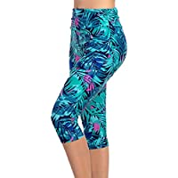 KEEPRONE Women's Swim Pants High Waist Tummy Control Swimming Tights UPF 50+ Capris Built-in Liner Outdoor Sport Leggings