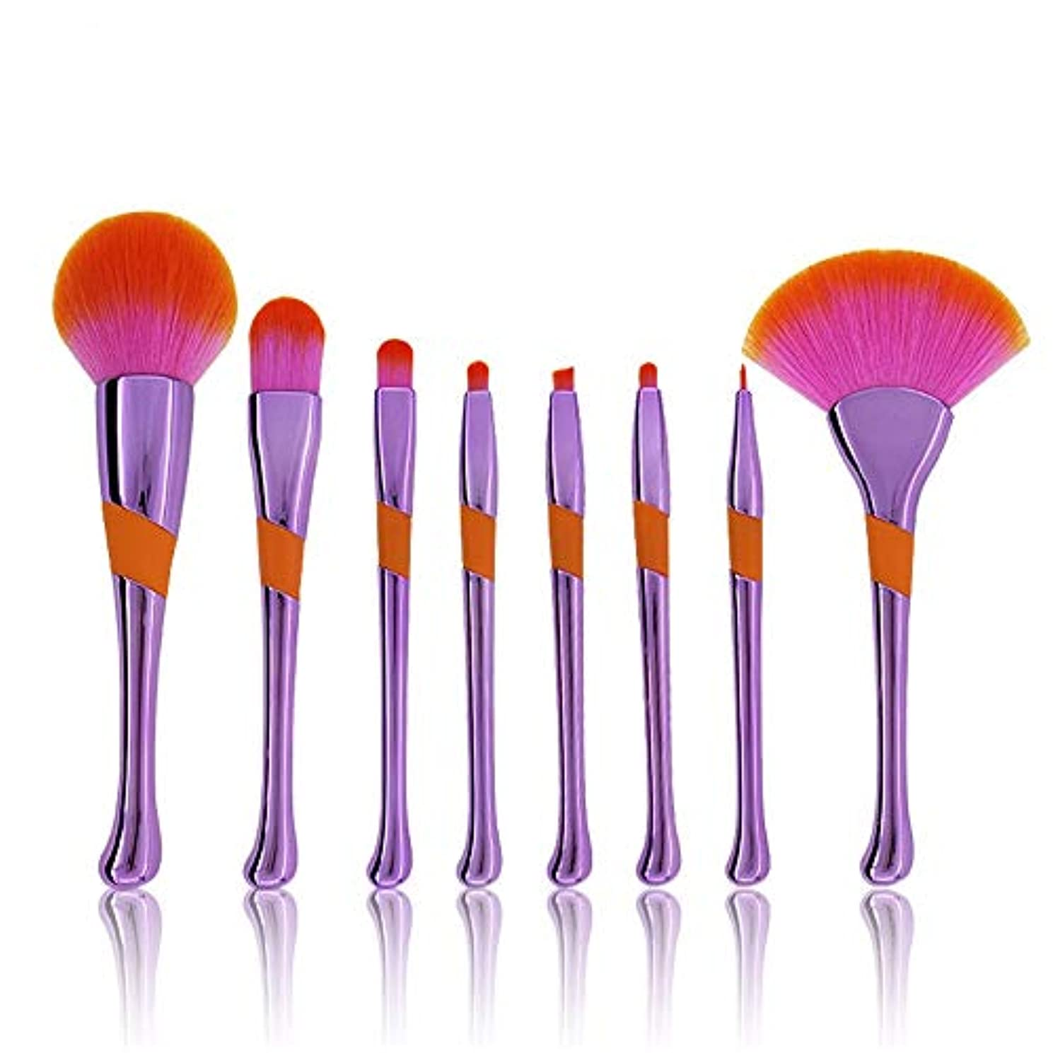 メンターリフレッシュ石のMakeup brushes 8ピースセットガールハートメイクブラシフリーパウダーブラシアイシャドウブラシブラッシュブラシ suits (Color : Purple)