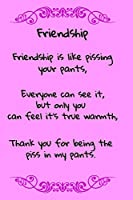 Friendship, Friendship is Like Pissing Your Pants: A fun place to write in.  6 x 9 110 pages