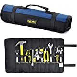 FASITE 35 Pockets Tool Roll Tools bag folded Wrench Pouch Storage Multi Purpose Fold Up Portable Carry Handle,Blue
