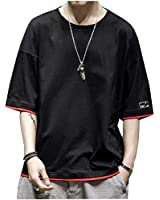 夏服 メンズ Tシャツ 半袖 五分袖 绵 tシャツ 吸汗速乾 カットソー Tシャツ 夏季対応 トップス 黑 M