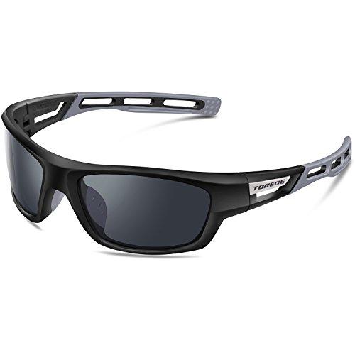Torege 偏光レンズ スポーツサングラス 超軽量 TR90 UV400 紫外線カット サングラスTRG007 (ブラック&グレー)