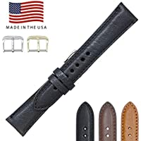 Montana Genuine Leather - Short Watch Bands Straps - American Factory Direct - Gold & Silver Buckles Included - Made in USA by Real Leather Creations