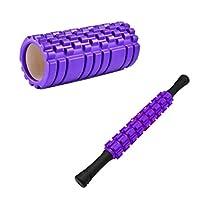 フォームシャフトローラーホイールマッサージローラースティックセット-9とがったポニットレッグバックリラクゼーションフォームアクシスマッスルリリーフヨガブロックフィットネス機器 (Color : Purple)