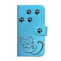 【BOW】アクオスR2 ケース AQUOS R2 カバー docomo SH-03K/au SHV42/softbank 706SH ケース 手帳型 スマホカバー puレザー(ネコ 黒猫 クールな猫 足跡+クリア PC)シンプル おしゃれ カラフル 17色 全機種対応 カードホルダー⌒スカイ ブルー