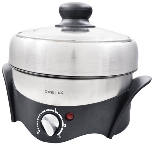DRETEC 【煮る・焼く・蒸すの1台3役】 電気グリル鍋 マルチポット シルバー MC-801SV