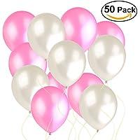NUOLUX 風船 バルーン 50個 2.8g パール 光沢 室内外デコレーション 結婚式 誕生日パーティー (ピンク+ホワイト)