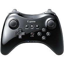 【E-game】 WiiU PRO コントローラー (振動機能付き WiiU専用 ワイヤレスコントローラー)クロス & 日本語説明書 & 1年保証付き 「ブラック」