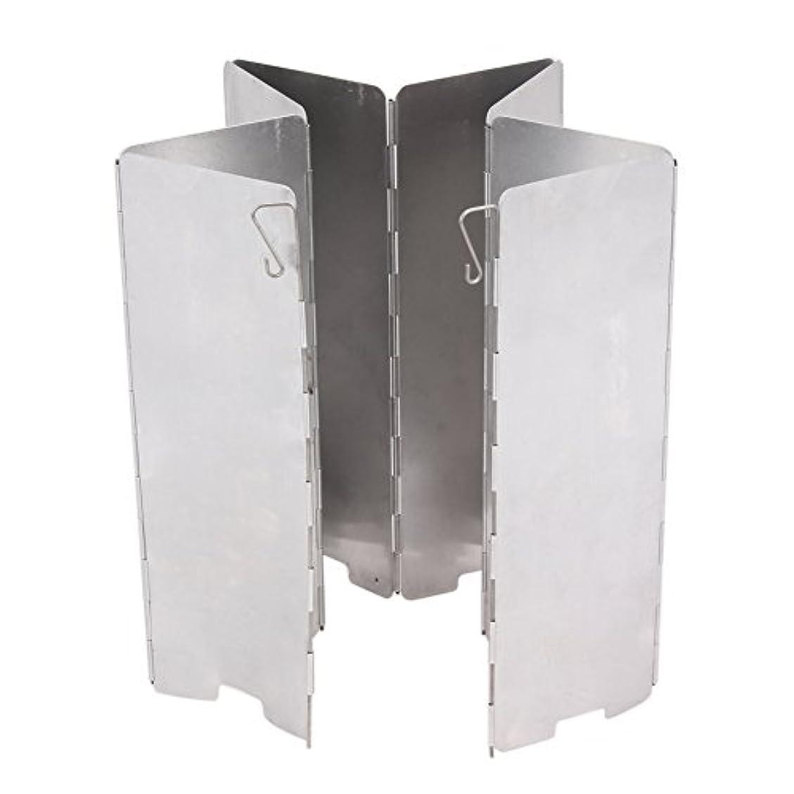 個人的なひばりスポーツをするSIKIWIND 防風板 8枚のプレート 折り畳み式 アルミ製 収納バッグ付き 超軽量 携帯便利 ストーブ用 ウインドスクリーン 風防 延長版