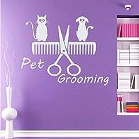 Lcymt ペットグルーミングサロンDiyの壁の装飾デカール猫犬動物の家の装飾Pvcウォールステッカー子供のベッドルーム子供52×43センチ