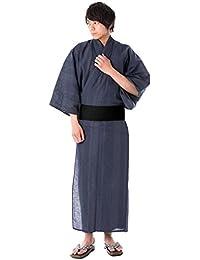 [キョウエツ] 浴衣セット 亀甲十字 十字 縞 A 新サイズ 4点セット (浴衣、角帯、下駄、腰紐) メンズ