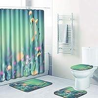 防水シャワーカーテン 浴室用カーペット 便座クッション シャワーマット コンビネーション4ピース 洗濯機で洗えます,I,180CM+45*75CM