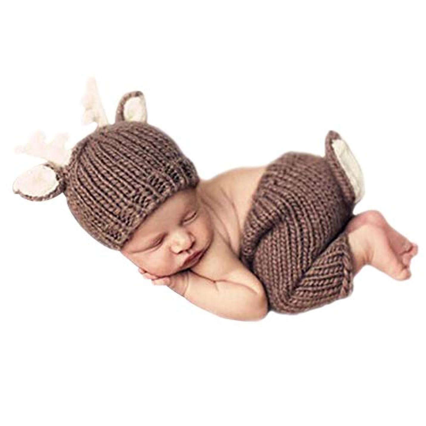 地中海起こるオーバーランベビー用着ぐるみ コスチューム 寝相アート 鹿ヘアバンド付 赤ちゃんの写真道具 新生児 可愛い着ぐるみ 記念撮影 出産祝い 鹿