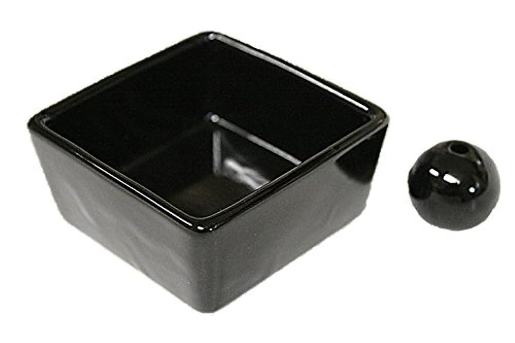 命令方程式発見和モダン 漆黒 お香立て 陶器 角鉢 製造直売品