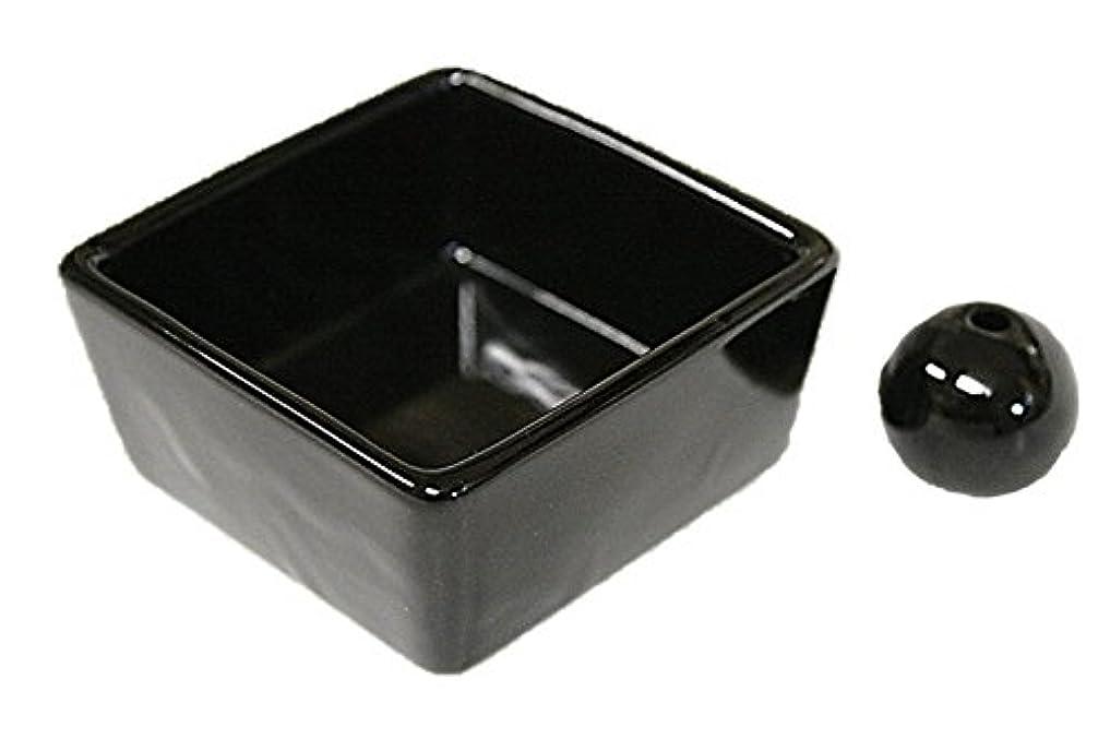 アトミック確認接続詞和モダン 漆黒 お香立て 陶器 角鉢 製造直売品