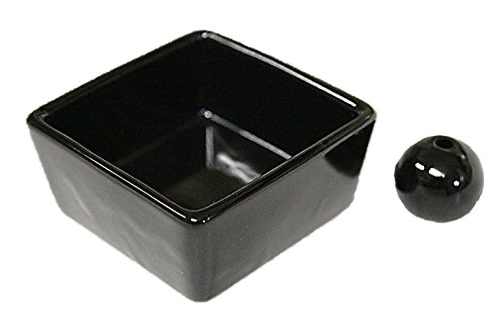 物質おなじみのムスタチオ和モダン 漆黒 お香立て 陶器 角鉢 製造直売品