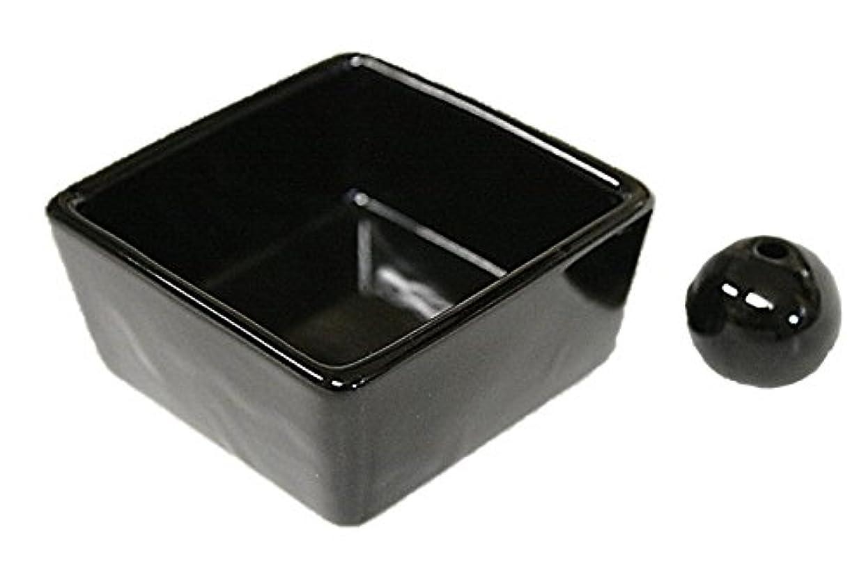 好奇心ブラウン実行する和モダン 漆黒 お香立て 陶器 角鉢 製造直売品