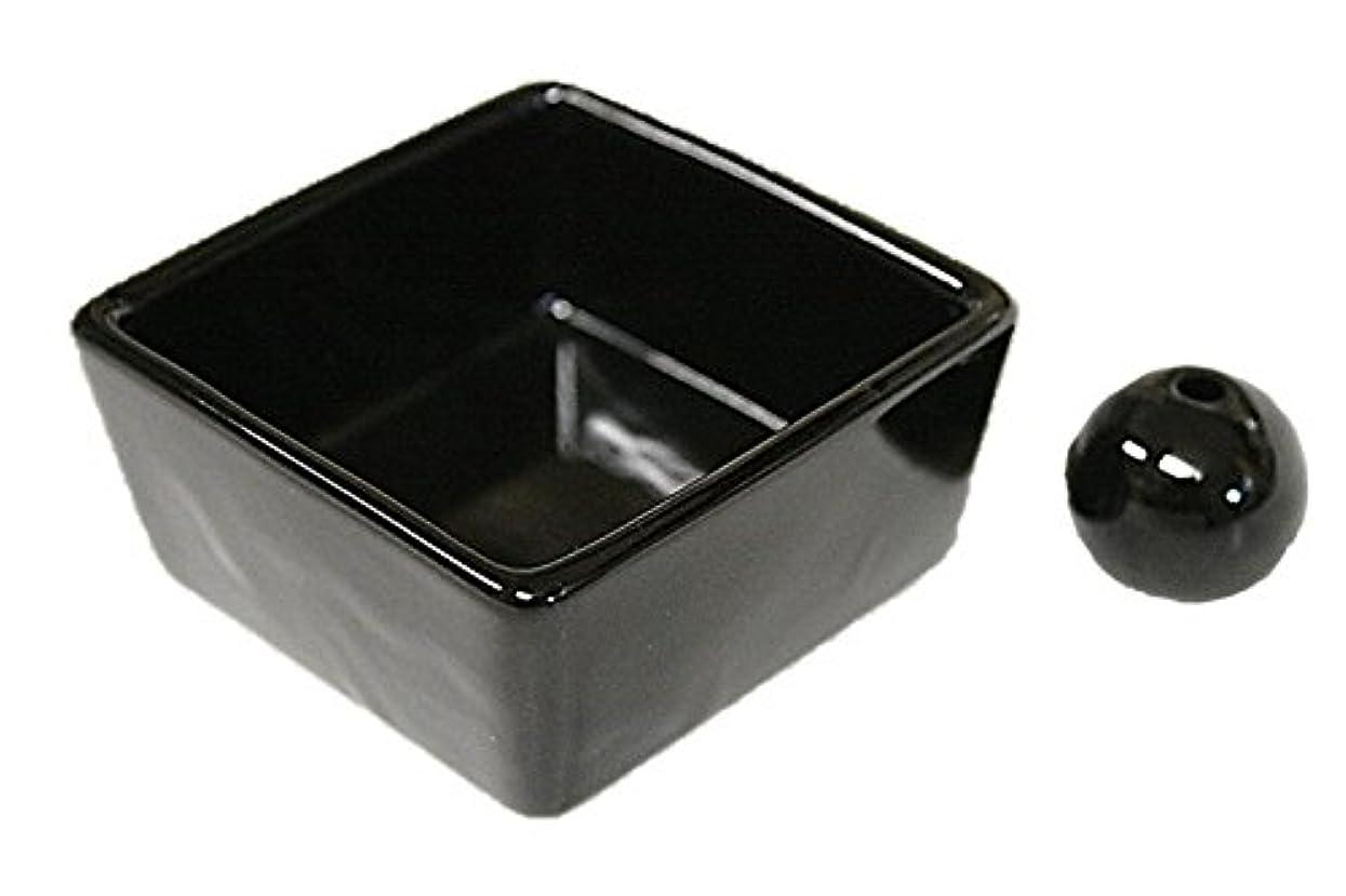 言語シルク食事和モダン 漆黒 お香立て 陶器 角鉢 製造直売品