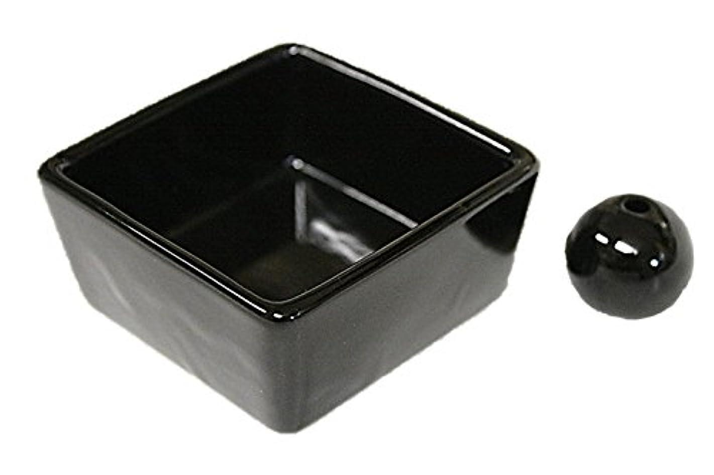 再現する偽善者ラベンダー和モダン 漆黒 お香立て 陶器 角鉢 製造直売品
