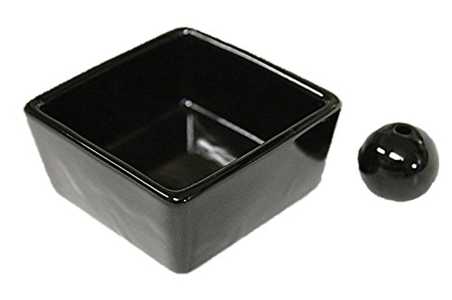 どこ取り替える議会和モダン 漆黒 お香立て 陶器 角鉢 製造直売品