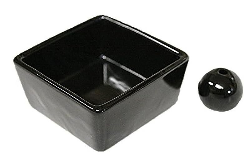 悲劇的な最高高い和モダン 漆黒 お香立て 陶器 角鉢 製造直売品