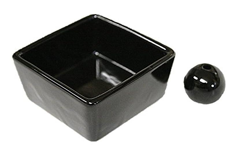 年金受給者クマノミ横向き和モダン 漆黒 お香立て 陶器 角鉢 製造直売品