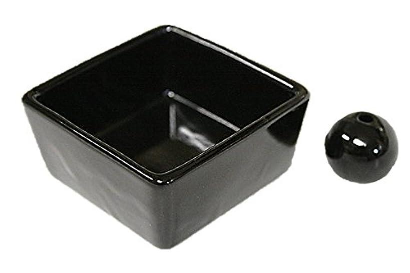 ゲートウェイ磁石マイコン和モダン 漆黒 お香立て 陶器 角鉢 製造直売品