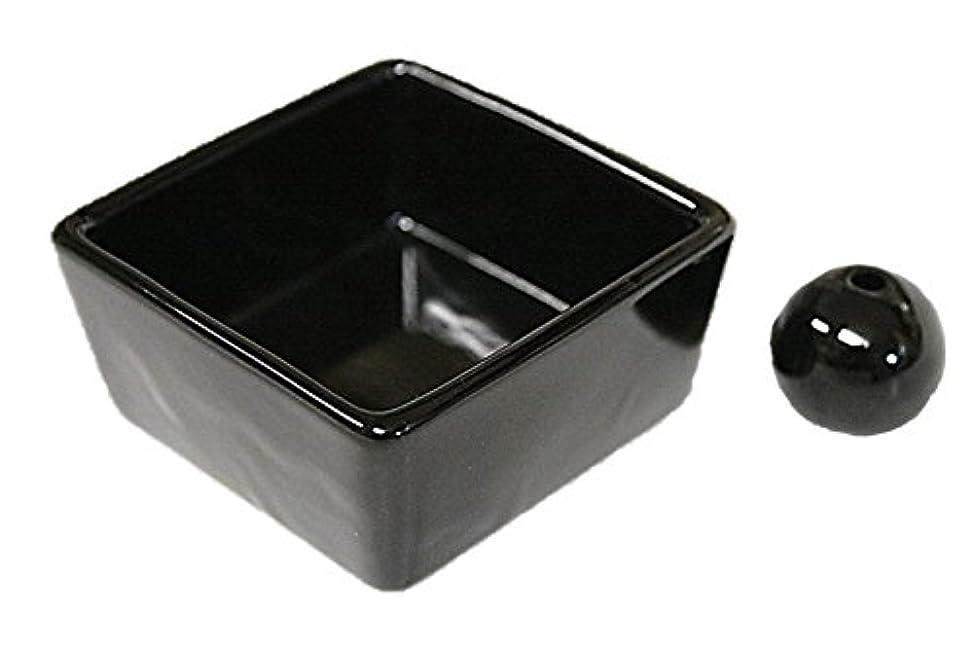 同化裁量なめらか和モダン 漆黒 お香立て 陶器 角鉢 製造直売品