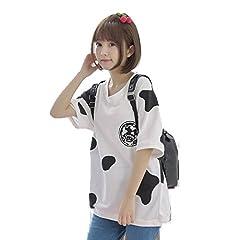 2016夏 牛柄 プリント ゆったり 半袖 Tシャツ かわいい ガールズ トップス 萌え ホワイト ワンサイズ
