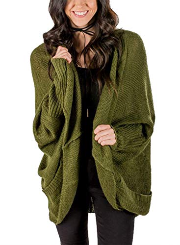 Women Oversized Long Sleeve Open Front Knit Soft Cardigan Sweater with Pocket