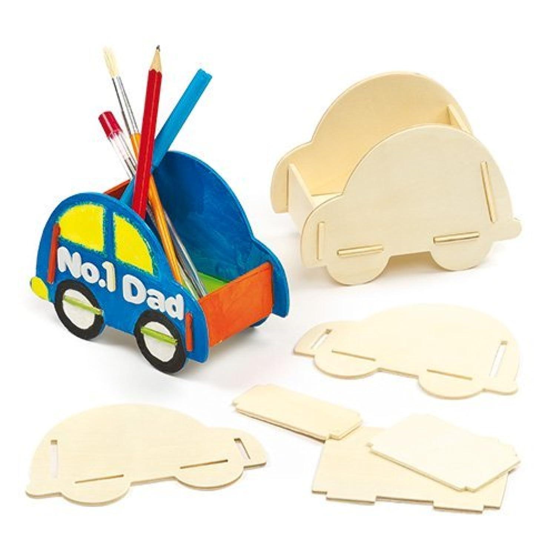 カー?ペン立てキット 木製 (3個入り) 組み立て簡単 子供たちの工作に 父の日の手作りのプレゼントに 車好きの方に