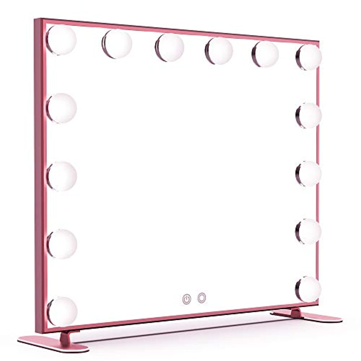広々とした生反響するBEAUTME 女優ミラー ハリウッドスタイル 化粧鏡 14個LED電球付 女優ライト 暖色?寒色 2色ライトモード 明るさ調整可能 卓上 ドレッサー/化粧台適用(ピンク)