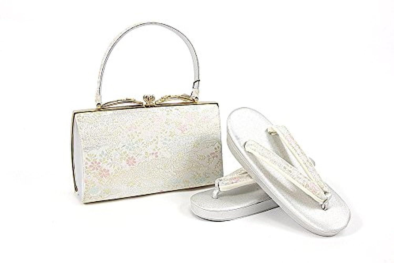 紗織謹製 草履バッグセット 銀×ピンク 銀×金×ピンク 23.0cm レディース