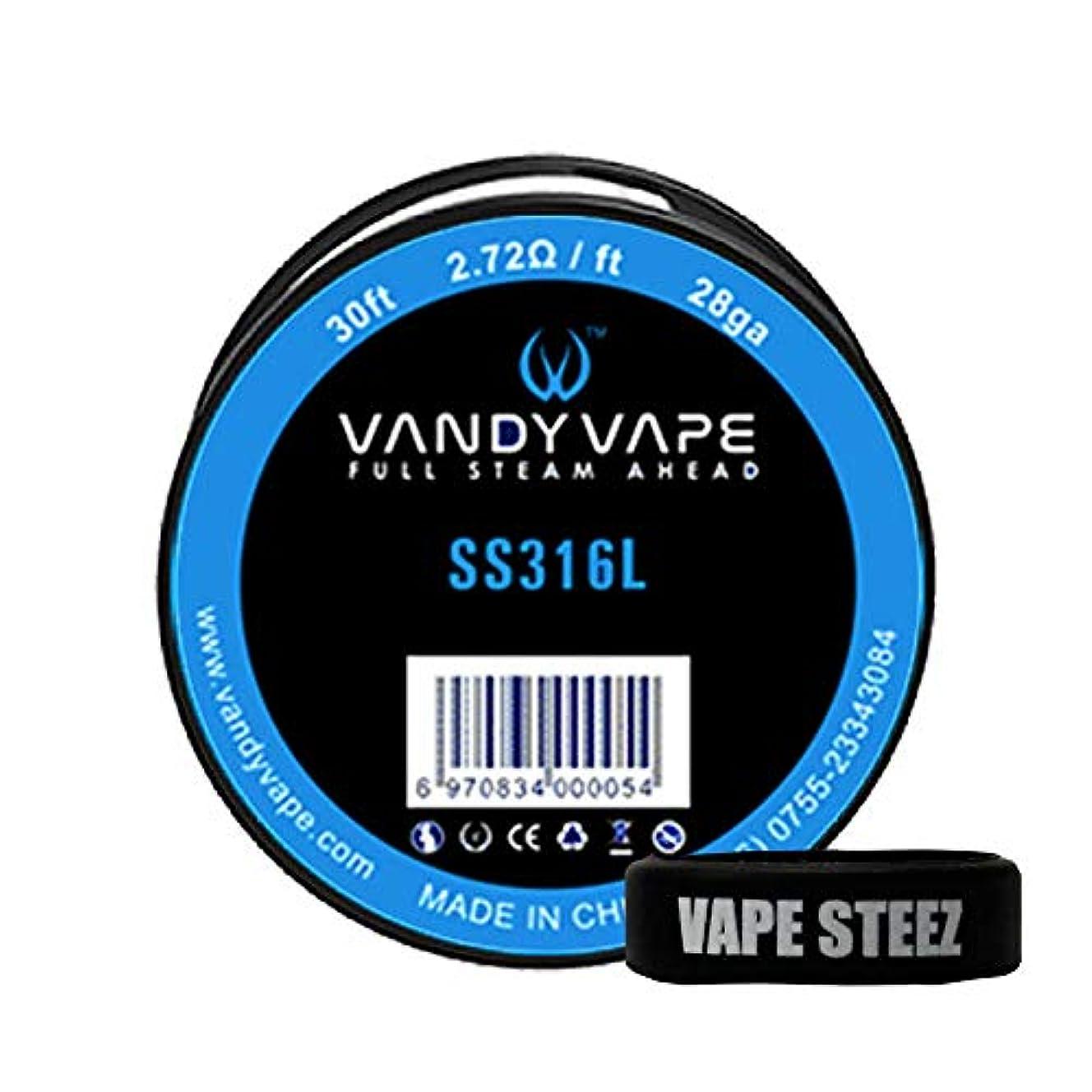郵便物デッド脳VANDYVAPE製 交換コイル SS316L/28ga 30ft(9.144メートル) VAPESTEEZオリジナルバンド付き