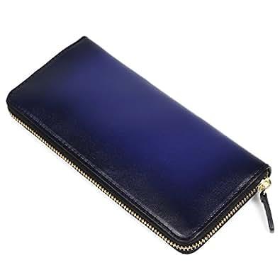 (ラファエロ) Raffaello 一流の革職人が作る スフマート製法で染色したメンズラウンドファスナー長財布 (アズールブルー)