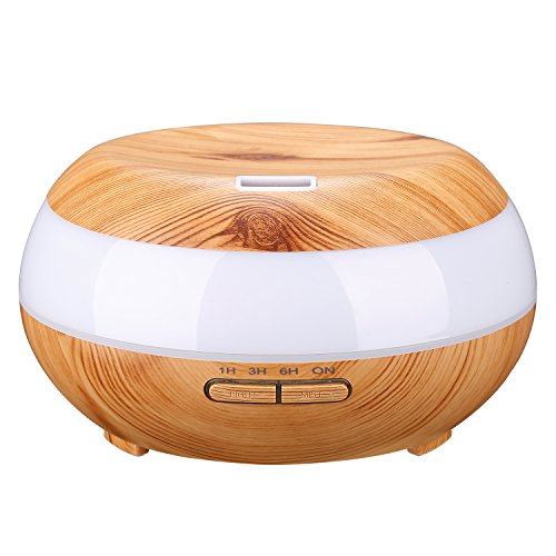 ONDTECH 300ml大容量 木目調 アロマディフューザー 超音波式 加湿器 ムードランプ 空焚き防止機能搭載7色変換LED搭載 時間設定 部屋 会社 ヨガなど各場所用