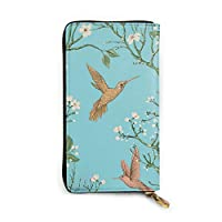長財布 Wallets 小銭入れ カード入れ 薄い 軽量 便利 鳥、枝、花 プリント 多機能 男女兼用 ファスナー式