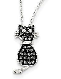 スターリングシルバーブラック&ホワイトStelluxクリスタル猫ネックレス18インチ