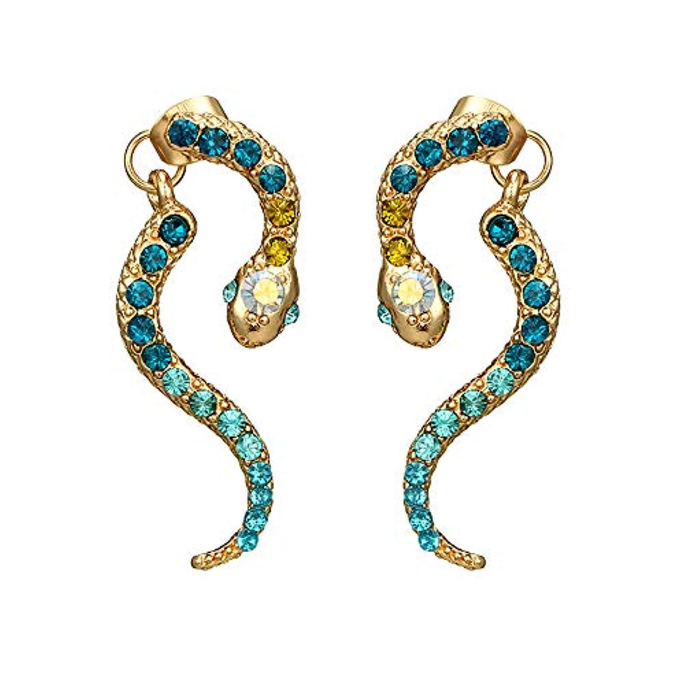 グレー現在スポーツマンNicircle 女性ヴィンテージパーソナリティゾディアックヘビ型ダイヤモンドイヤリング動物合金のイヤリング Women Vintage Personality Zodiac Snake-shaped Diamond Earrings...
