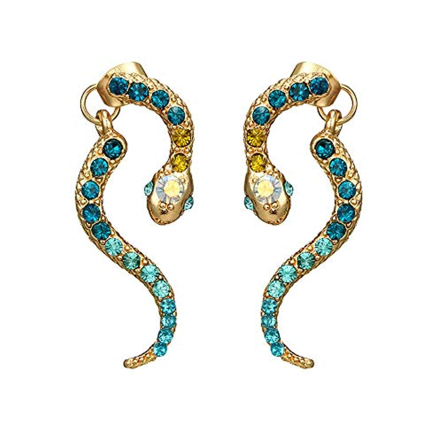 敏感なピック暖かくNicircle 女性ヴィンテージパーソナリティゾディアックヘビ型ダイヤモンドイヤリング動物合金のイヤリング Women Vintage Personality Zodiac Snake-shaped Diamond Earrings...