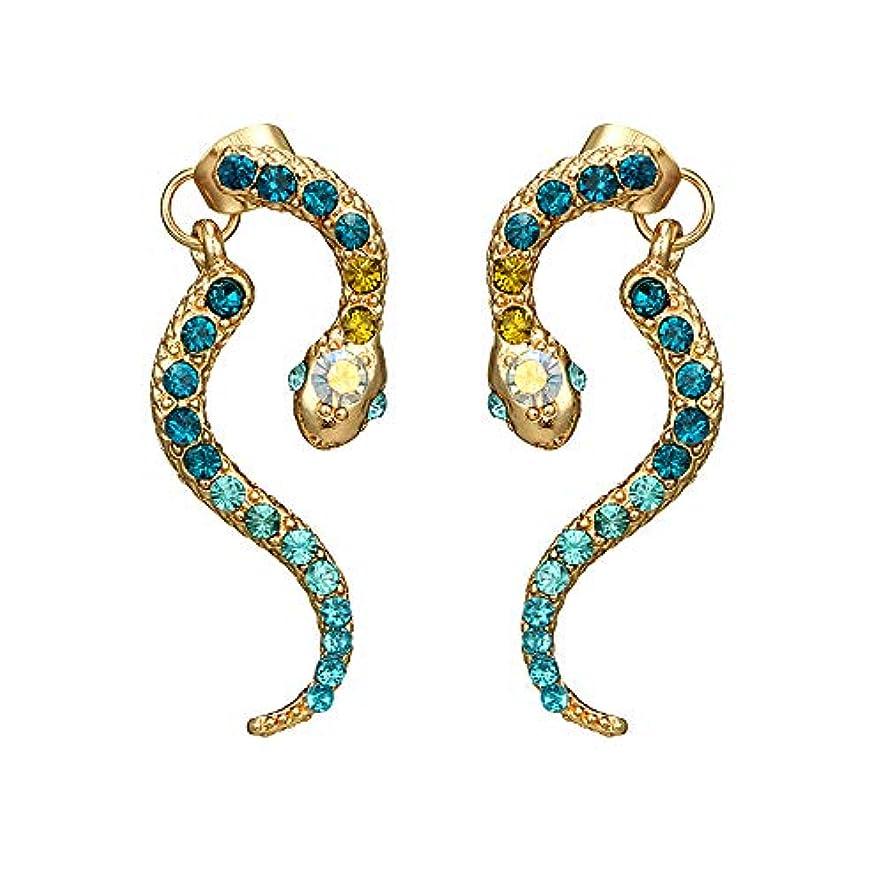 一族ストライプ極めてNicircle 女性ヴィンテージパーソナリティゾディアックヘビ型ダイヤモンドイヤリング動物合金のイヤリング Women Vintage Personality Zodiac Snake-shaped Diamond Earrings...
