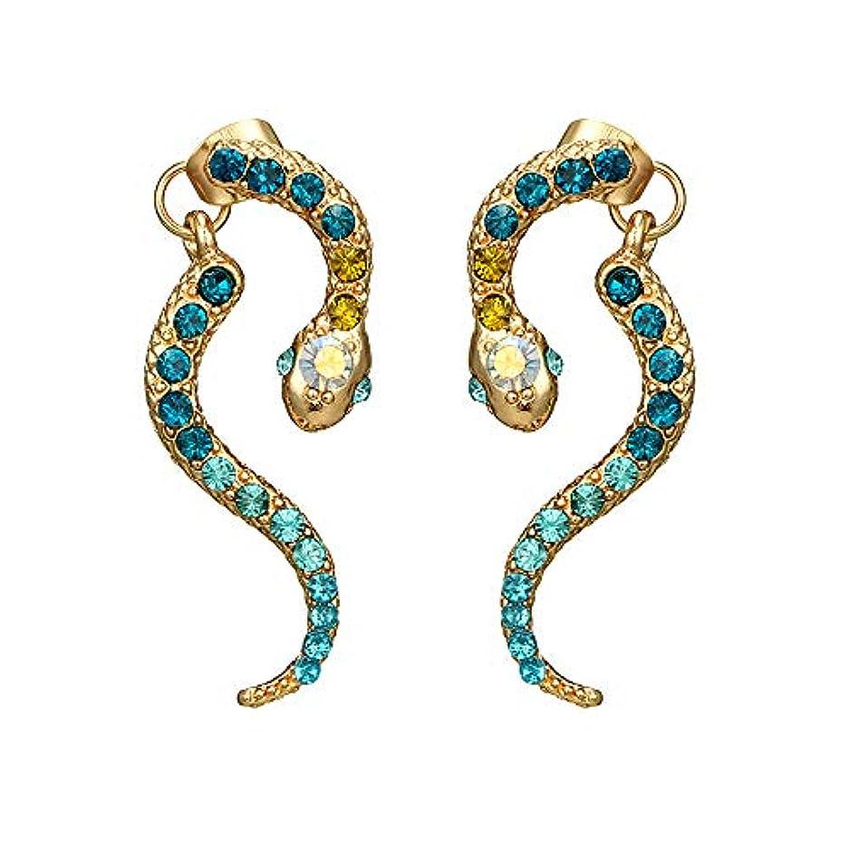 眠るマークされたコントローラNicircle 女性ヴィンテージパーソナリティゾディアックヘビ型ダイヤモンドイヤリング動物合金のイヤリング Women Vintage Personality Zodiac Snake-shaped Diamond Earrings...