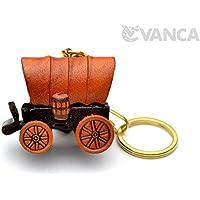 幌馬車 本革製 立体キーホルダー VANCA CRAFT 革物語 (日本製 ハンドメイド)