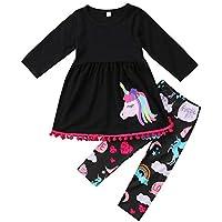 VIKITA Toddler Girl Winter Unicorn T-Shirt Pants Set Cotton Long Sleeve Little Girls Clothes GZSH005 Purple 23 Years
