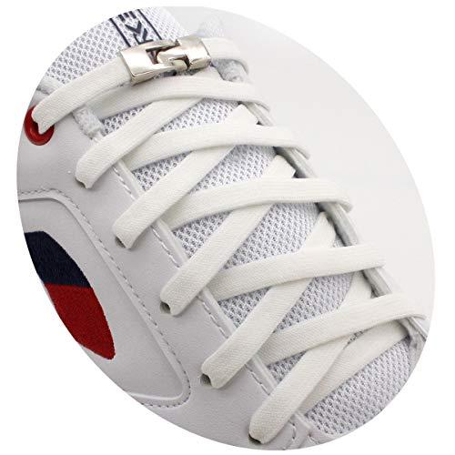 [AIJIABEI] (2足分)靴紐 結ばない はスニーカーランニングシューズのための金属フックの安全ボ付きネクタイ靴ひもカジュアルシューズ ホワイト