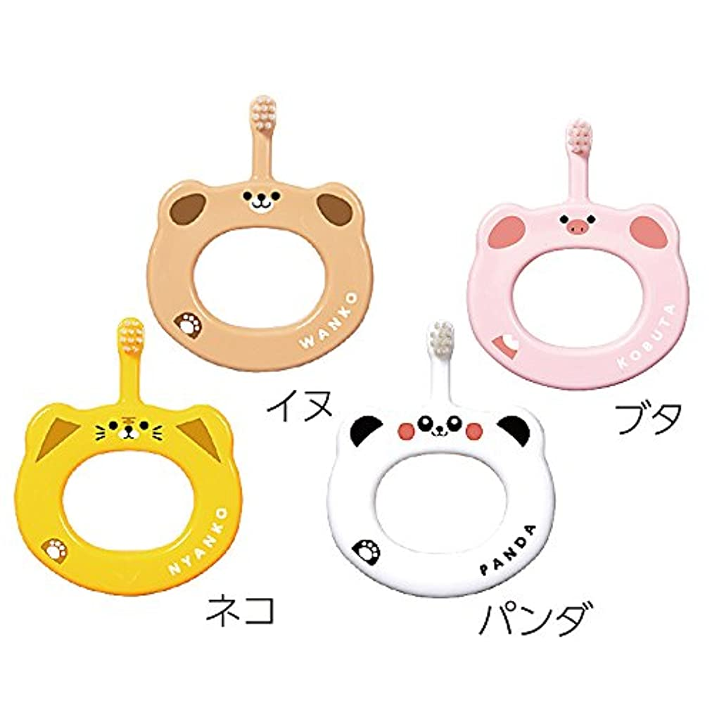 慣らすアレンジワインCi ベビー 歯ブラシ 動物柄 リング 4本セット (ブタ、パンダ、ネコ、イヌ)