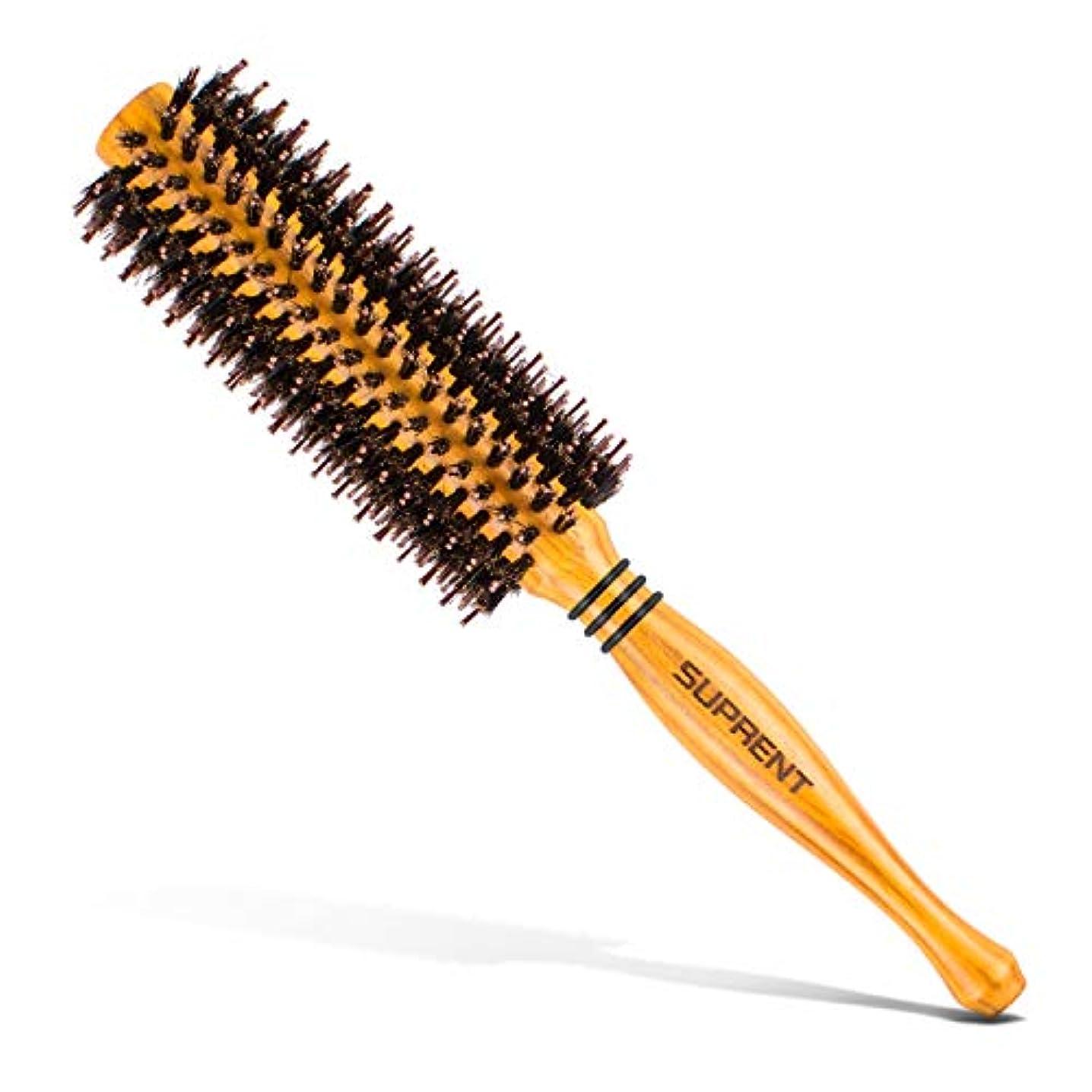 神経障害ピアのりロールブラシ/ヘアブラシ豚毛カール 木製櫛 スタイリングブラシ 巻き髪 静電気防止
